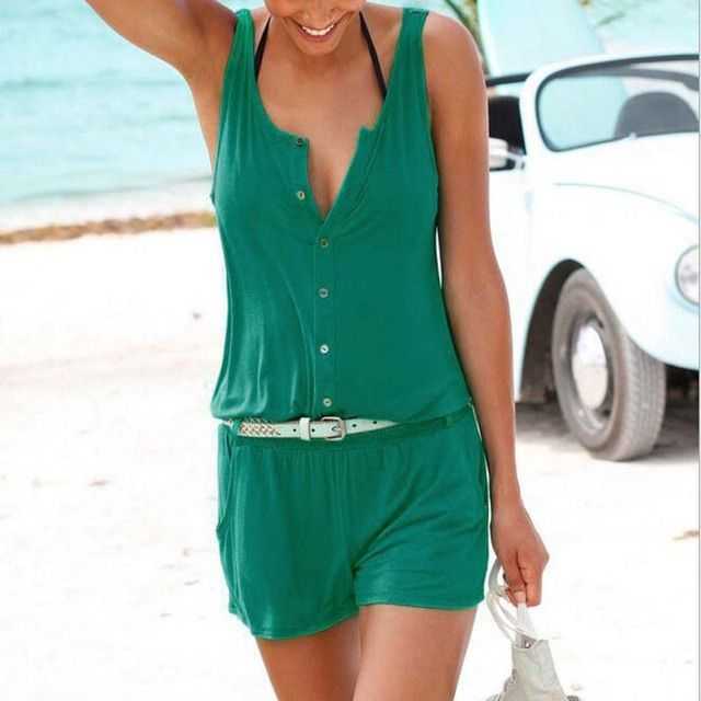 Sexy Beach Women Romper Jumpsuit Shorts Sleeveless One Piece Short Pants Suit Lady Jumpsuits
