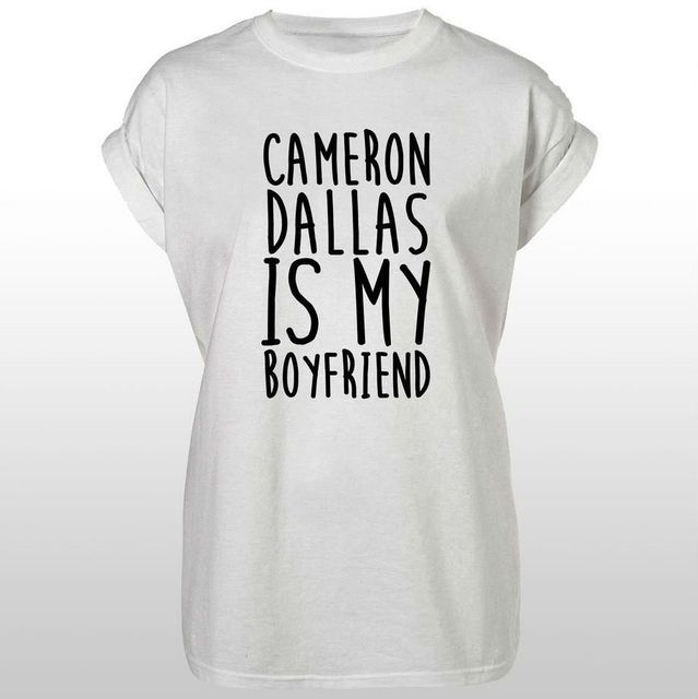 Cameron Dallas is My Boyfriend Women T shirt Casual Cotton Hipster For Funny Top Tee White Black Plus Size Drop Ship HH305-109