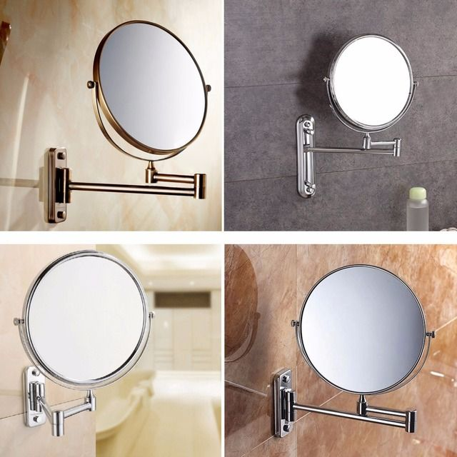 8 inch Wall Mounted Extending Folding Round Two Side 3X/5X/7X/10X Magnification Bathroom Mirror Makeup Cosmetic Lady's Mirror