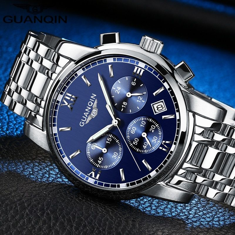 GUANQIN Luxury Quartz Watch Male Simple Sapphire Mens Fashion Watch Waterproof Steel Wristwatch Automatic Watch Men Business