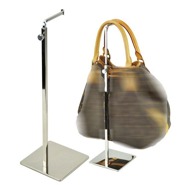 Square Corner Adjustable Metal Handbag Display Stand Holder Mirror Surface Handbag Rack bag holder rack