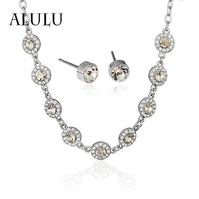 ALULU Exaggerated Crystal Necklace Earring Set 2017 Fashion Silver Rhinestone Jewelry Set For Women