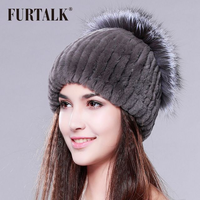 winter beanies fur hat for women knitted rex rabbit fur hat with sliver fox fur top free size  women's hat
