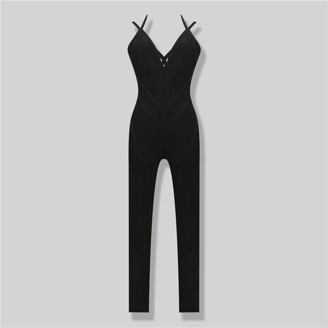 Free Shipping Hot Fashion 2016 Women Sexy One Piece Bodycon Bandage Jumpsuit  Sexy Club