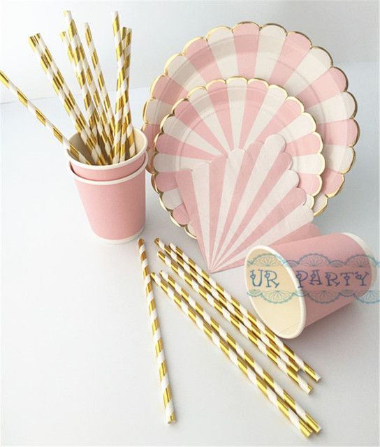 40 People Party Paper Plates Napkins Cups Straws Disposable Tableware Metallic Gold Pink Stripe Theme Party Wedding Decor