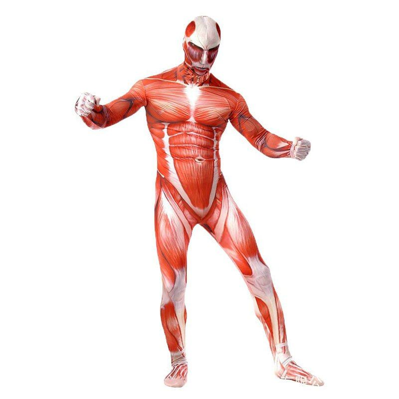 Attack On Titan Cosplay Costumes Spandex Lycra Second Skin Tight Suit Adult Muscle Full Body Bodysuit Bertolt Hoover Zentai