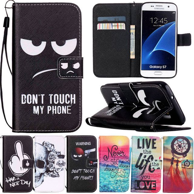 For Samsung S7 Fashion Case Painting Leather Flip Wallet Stand Phone Cases For Coque Samsung Galaxy S7 Edge Cover with Card Slot