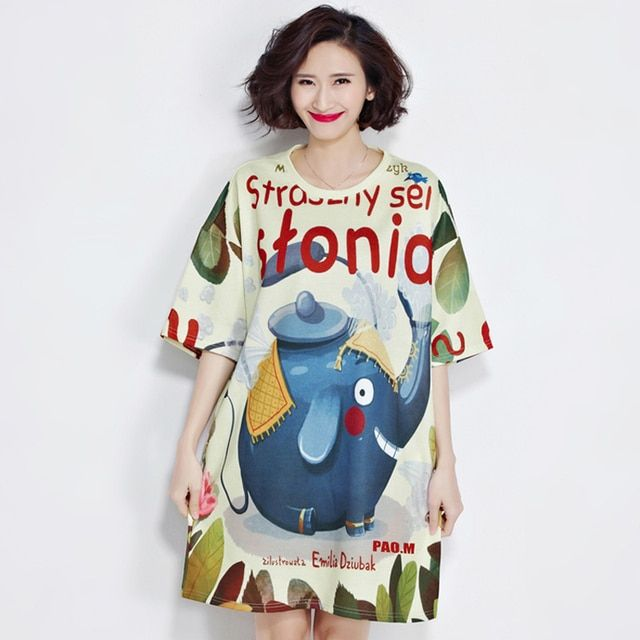 azouari plus size women clothing 2017 spring ummer new Hong Kong trend of cartoon prints loose beautiful short-sleeved T-shirt
