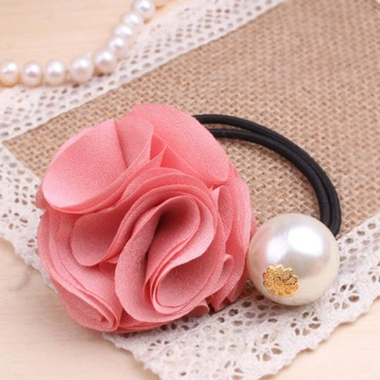 Fashion Women Charm Rose Imitation Pearls Elastic Ponytail Holder Hair Rope