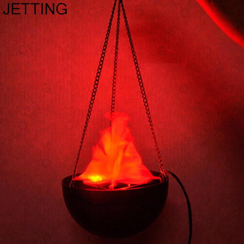 Halloween Supplies LED Hanging Fake Flame Lamp Torch Light Fire Pot Bowl Decor Festival Party Funny fake fire basket for Party