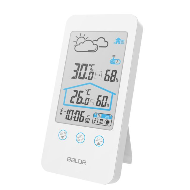 Baldr Digital Weather Station Wireless Sensor IN/OUTDOOR Hygrometer Alarm Wall Clock Temperature Forecast Moon Phase Thermometer