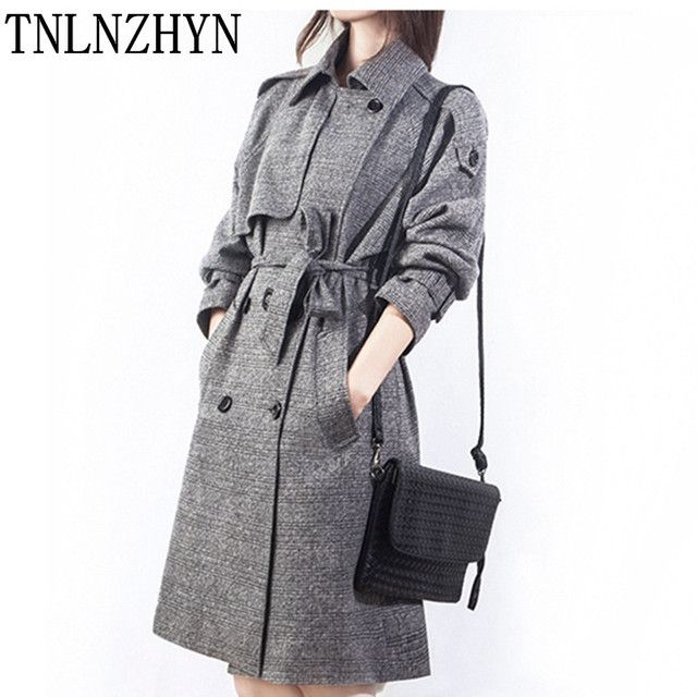 TNLNZHYN 2017 Spring Ladies Windbreaker Turn Down Collar Plaid Medium Long Overcoat Double Breasted Trench Coat For Women AL65