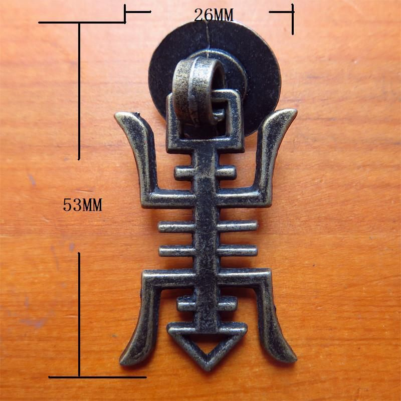53*26mm 30pcs vintage Wardrobe cabinet handle kitchen drawer decorative knobs hardware furniture handle for wooden wine box pull