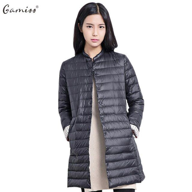Gamiss Autumn Women Long Light Jackets Coats Chic Collarless Long Sleeve Single Breasted Solid Color Women Padded Coat Parkas