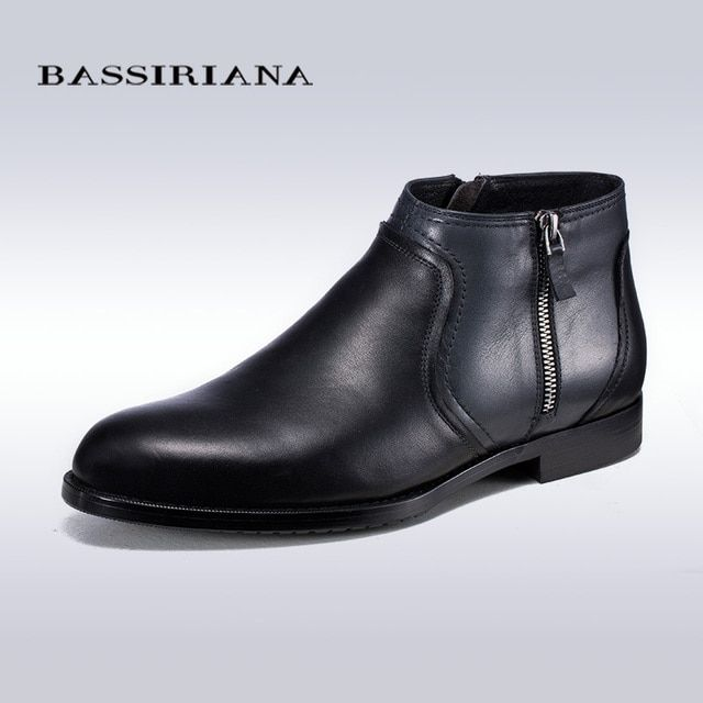 BASSIRIANA New 2017 Zipper Black Autumn Winter Mens Ankle Boots Genuine Leather Casual Shoes Mens Motorcycle Boots