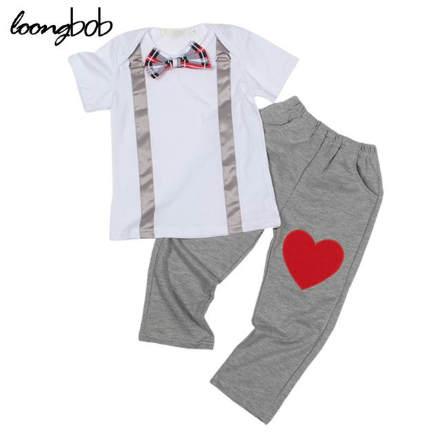 2016 New summer boys set kids clothing sets cotton short sleeve shirt + pants gentleman casual 2pcs boy clothing set for 1-5T