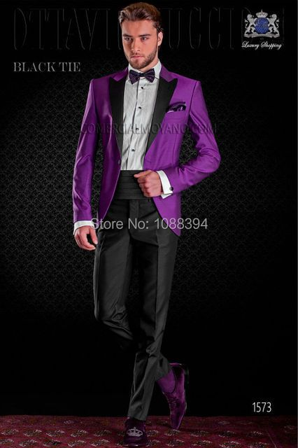 2016 Italian Design Black Lapel Purple Wedding Suits For Men Groom Tuxedos Groomsmen Prom Tuxedo Party Suits (Jacket+Pants+Bow)