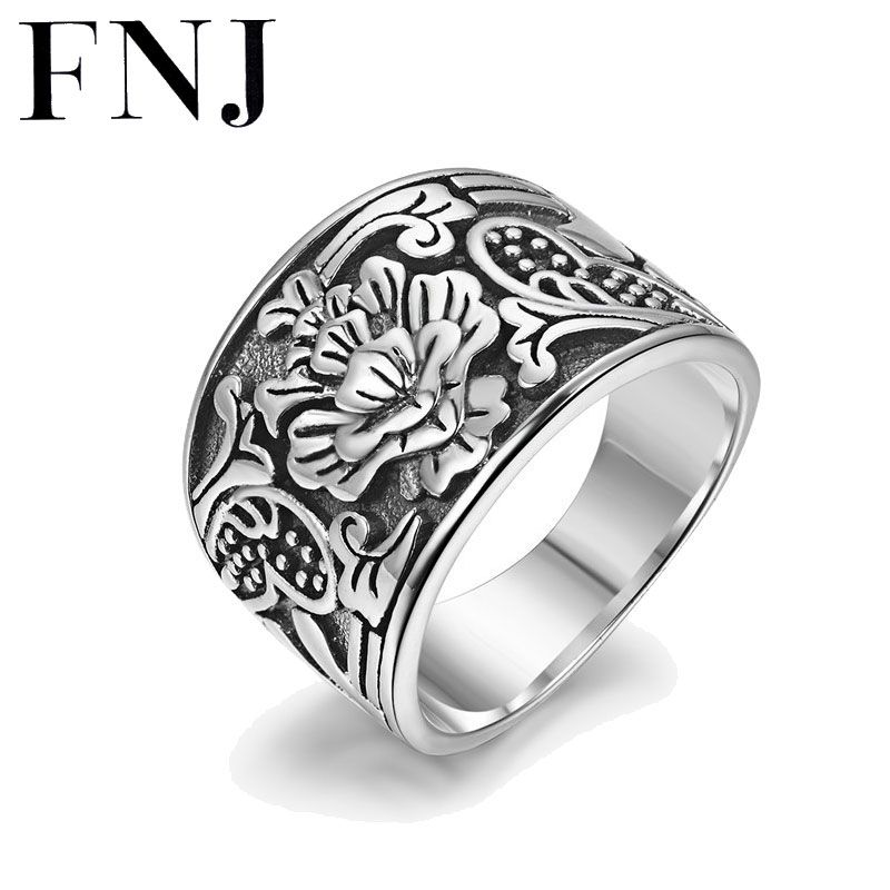 FNJ Vintage 925 Silver Rings Men Boy Jewelry Romentic Flower S925 Solid Thai Silver Ring for Women Lovers