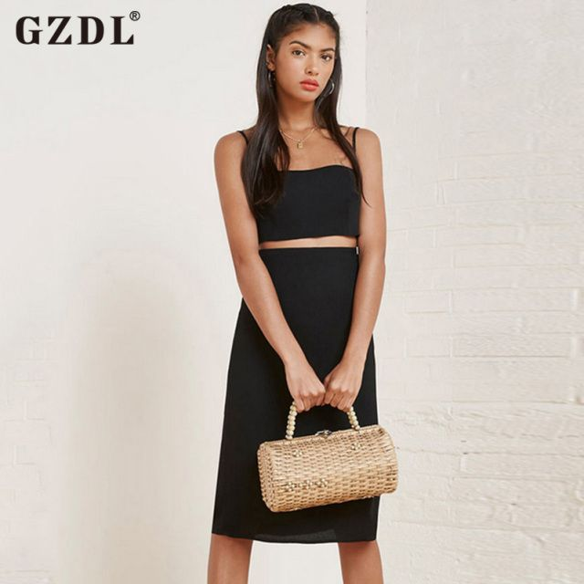 GZDL Casual Summer Women Ladies Side Split Clubwear Party Skirt Sexy Black Slit Mid-Calf Bodycon Straight Club Skirts CL2788