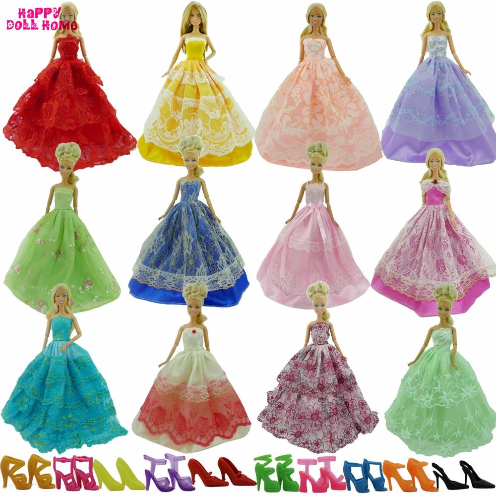 Random  Pick 15 Items = 5 Wedding Dress Princess Ball Gown + 5 Pairs Shoes + 5 Pink  Hangers Clothes for Barbie Doll Baby Toy