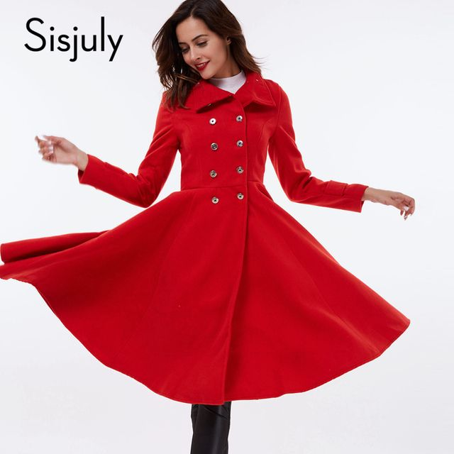 Sisjuly women fashion red coat long sleeve autumn army green luxury winter wool coat blend dark blue slim coat women tops 2017