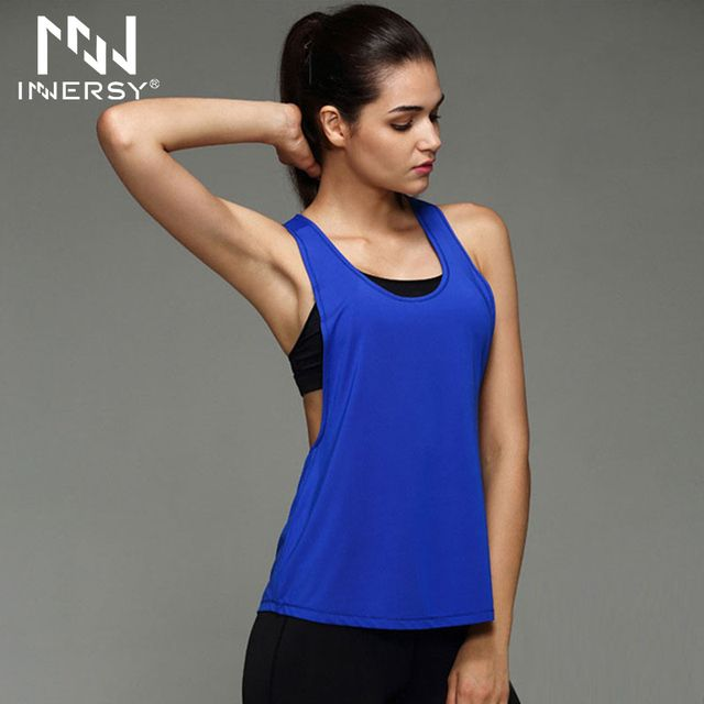 Innersy Women Sport Shirts Yoga Tops Sleeveless Vest Fitness Running Clothes for Female Quick Dry Breathable Tank Tops Jzh81