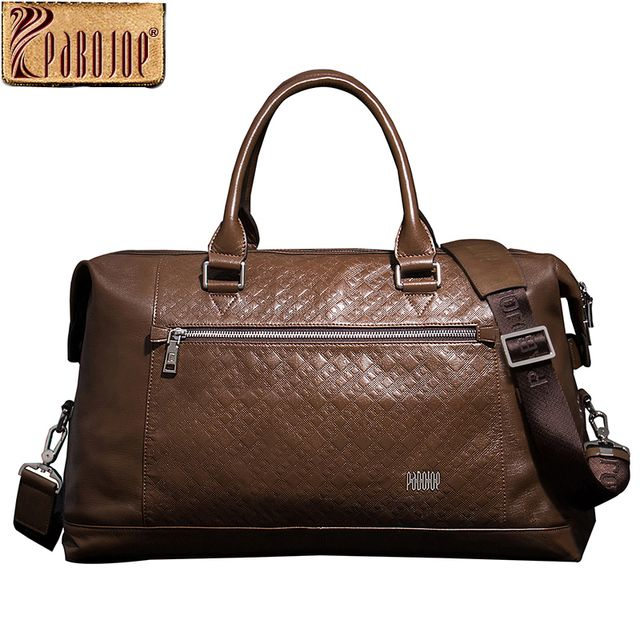 Pabojoe Duffle Bags 100% Italian Genuine Cowhide Leather Big Capacity Mens Business Travel Duffle Holder Luggage