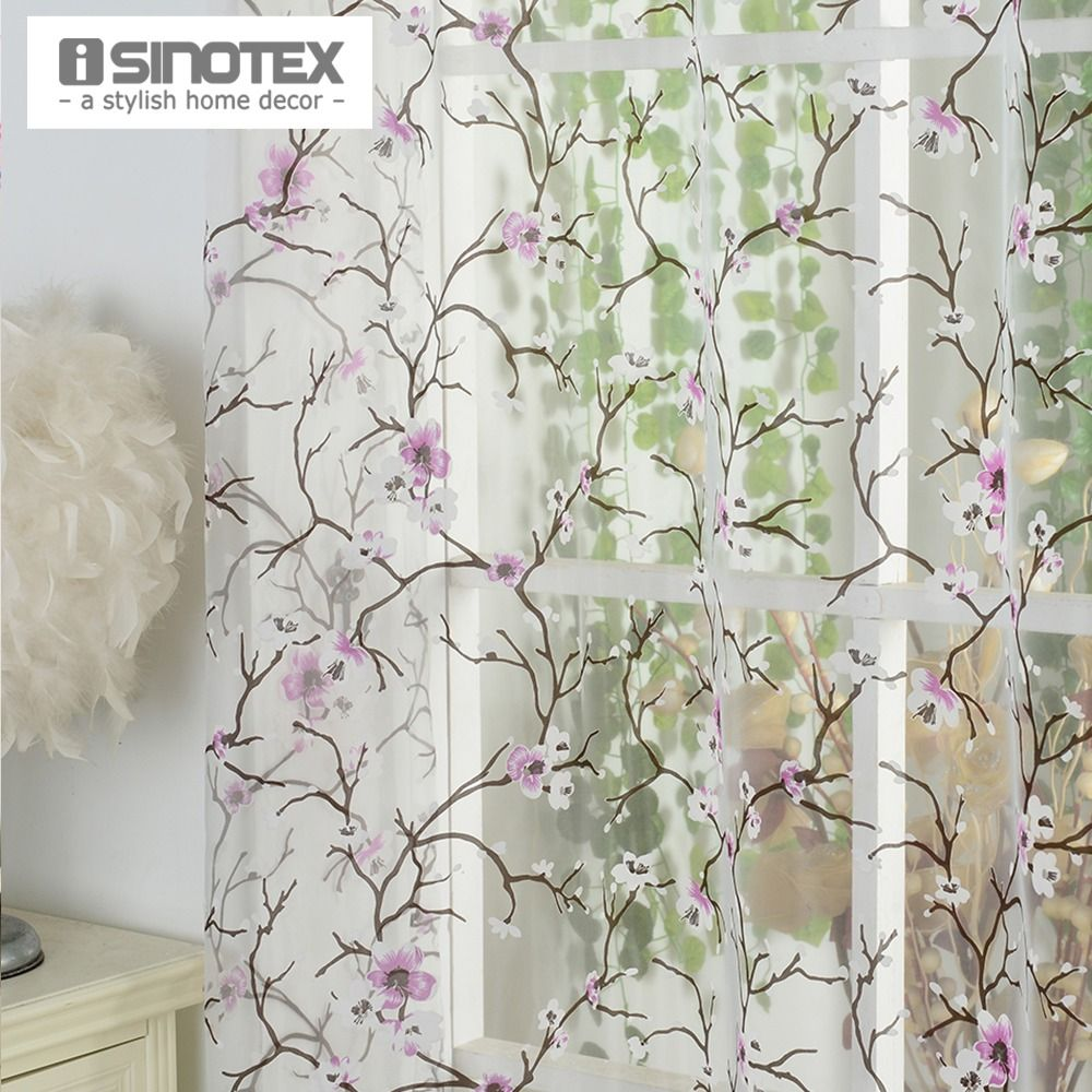 1PCS/Lot iSINOTEX Window Curtain Plum Flower Transparent Sheer Burnout Tulle Voile Fabric Living Room Screening