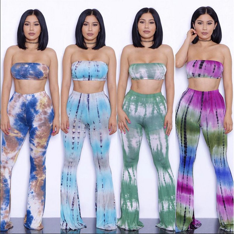 Heyouthoney fashion summer high quality women sexy tie dye print bra cropped tops sexy wide leg pants two pieces sets suits