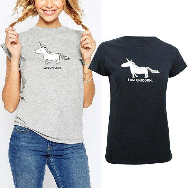 Summer Women Tees Unicorn Printed T- shirt Tops Short Sleeve O-neck T-shirt Cartoon Clothing 2 Colors