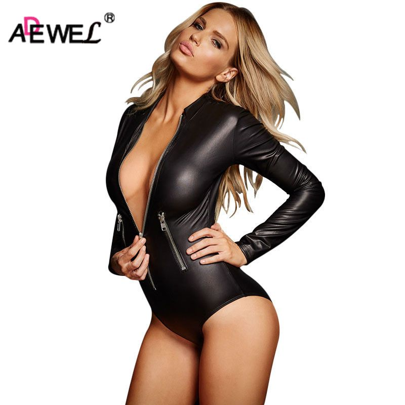 ADEWEL Sexy Long Sleeve Zipper Wetlook Leather Bodysuit Women Fetish PVC Body Teddy Lingerie Erotic Bodysuits Catsuit Clubwear