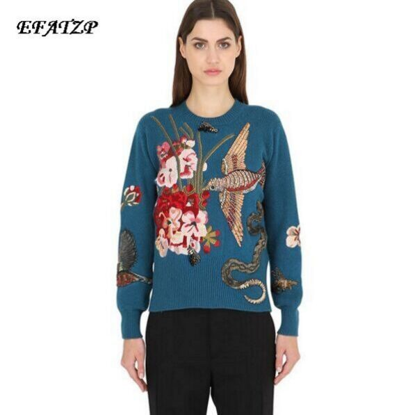 Stunning! Autumn Winter Sweaters New Fashion 2015 Women's Long Sleeve Elegant birds beading Flower Embroidery novel Wool Sweater