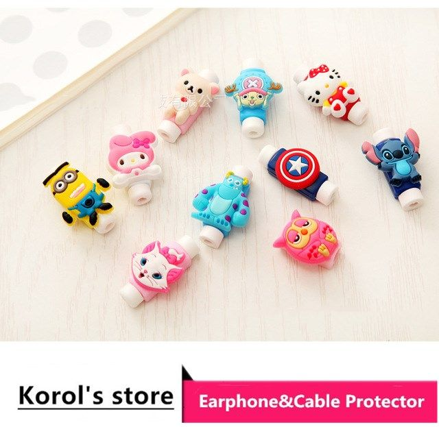 10pcs cartoon figure USB Data Cable Line Protector Anti Breaking Protective Sleeve For Charging Cable Earphone Line free ship