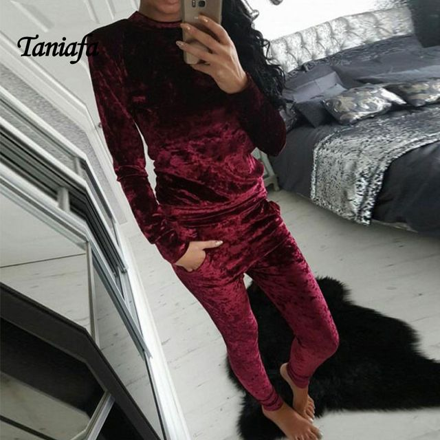 TANIAFA Velvet Hoodie set for women HQ  Flannel Hoodie Set tracksuits pants female two pieces clothing sets 2018 wholesale sets