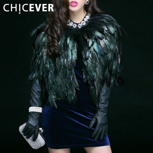 [CHICEVER] 2017 Autumn Winter Natural Feathers High Grade Vest Coat Women Jacket New Streetwear