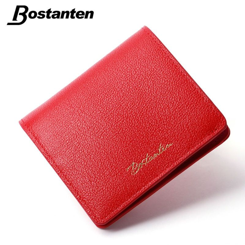 Bostanten Fashion Cow Leather Women Wallets Red Luxury Brand Womens Small Wallet Letter Wallet Ladies Short Coin Purse 2017 Gift