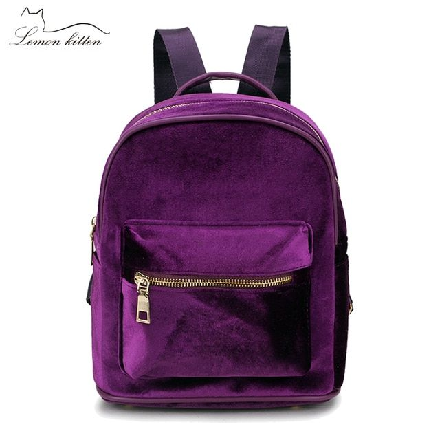 Lemon Kitten Velvet Women Backpack Mini Backpack For Women Teenage Girl Mochila Escolar Female Ruckasck Student School Bag