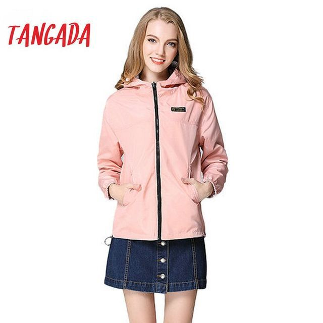 Tangada Spring Fashion Women Windbreaker Basic Coats Pink Bomber Jacket Pocket Zipper hooded print outwear Woman XL  BOG13