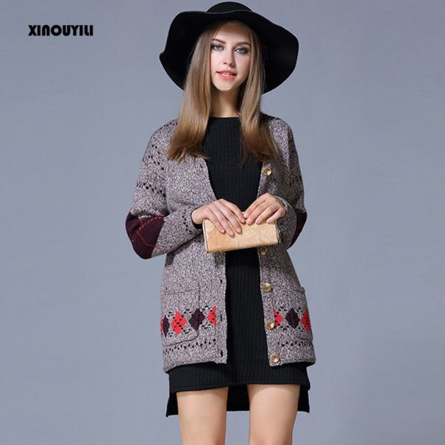 2016 autumn and winter cardigan women new loose long sleeve thick sweater large size women cardigan pull femme