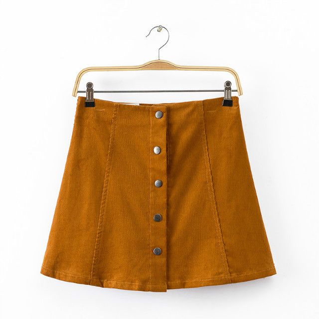 Casual Vintage Retro Falda Roupas Femininas Brief Rivet Corduroy High Waist Saia Midi Micro Mini Jupe Short Women Pencil Skirt