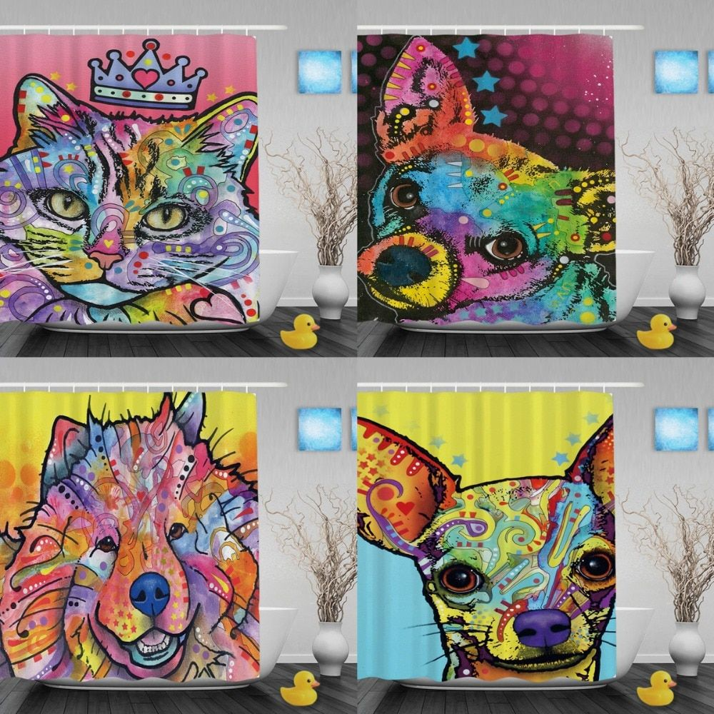 Custom Pet Cat Shower Curtains Colorful Art Animals Decorative Bathroom Curtains Waterproof Polyester Fabric Bath Shower Curtain