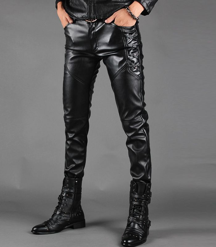 2016 New Hot Motorcycle Leather Joggers Fashion Mens Punk Drapped Printed Pants Cool Skinny Faux Leather PU Pants For Men