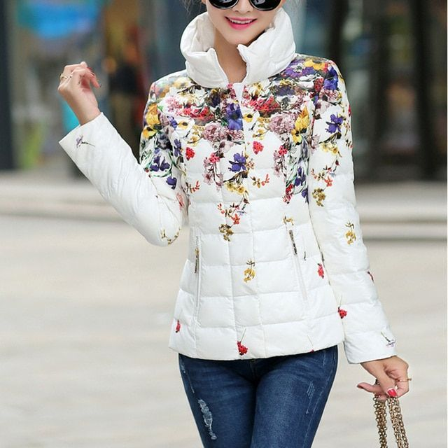 2016 Winter women  jacket casual women's print down cotton-padded coat jacket short design slim flower wadded parka
