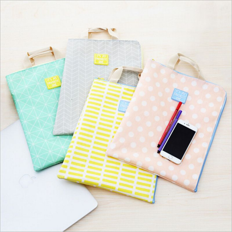 Multi-Function A4 File Folder Bag Fabric High-capacity Portable Zipper File Bag escolar Document Filing Organizer
