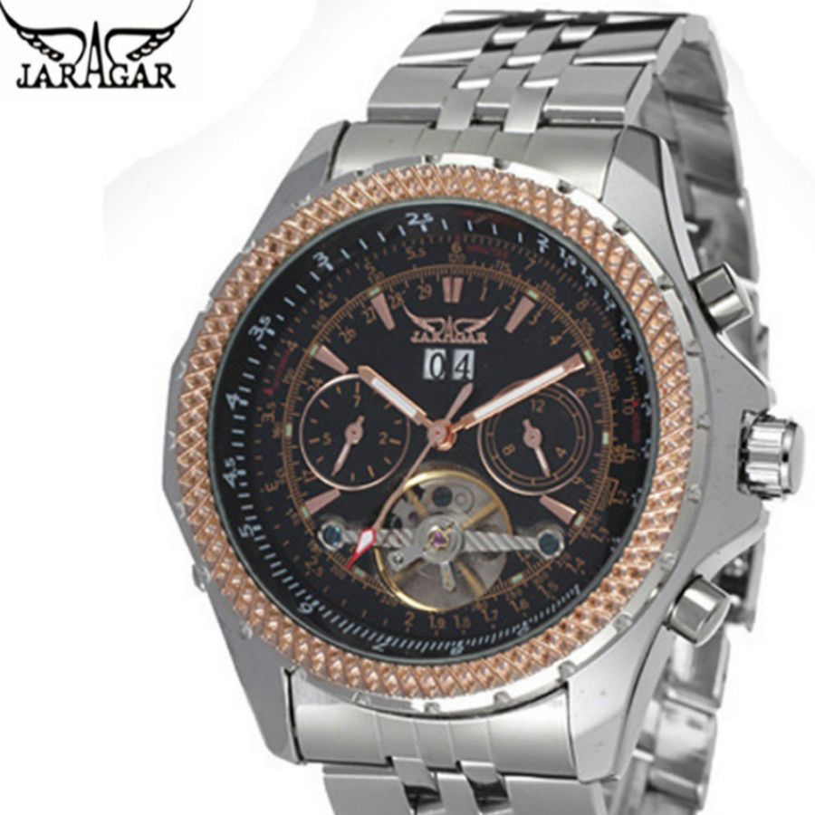 JARAGAR Watches Men Luxury Auto Mechanical Watch 4 Hands Date/Day Tourbillon Clock Men's Wristwatch