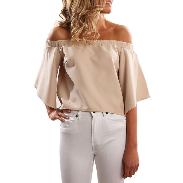 Women Blouse Shirt 2016 Summer Tops Back Split Femme Cool Pink Off Shoulder Top Chiffon Blouse Casual Blusas Shirt Women Clothes