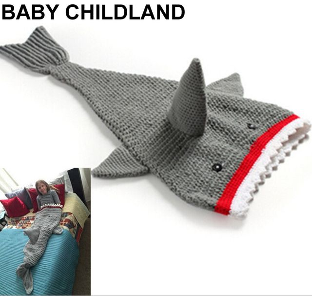 baby blanket newborn handmade knitted shark blanket newborn photography props blanket baby shark sleeping bag mantas para bebe
