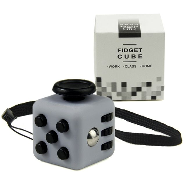 Mini Fidget Cube Vinyl Desk Toy Keychain Squeeze Fun Stress Reliever 2.2cm 11 Colour Click Glide Flip Spin Breathe Roll With Box