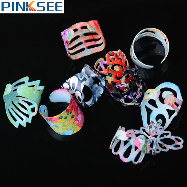 Wholesale 5pcs Flower Print Alloy Band Rings Adjustable Hollow Rings For Women Men Fashion Charm Jewelry Open Rings