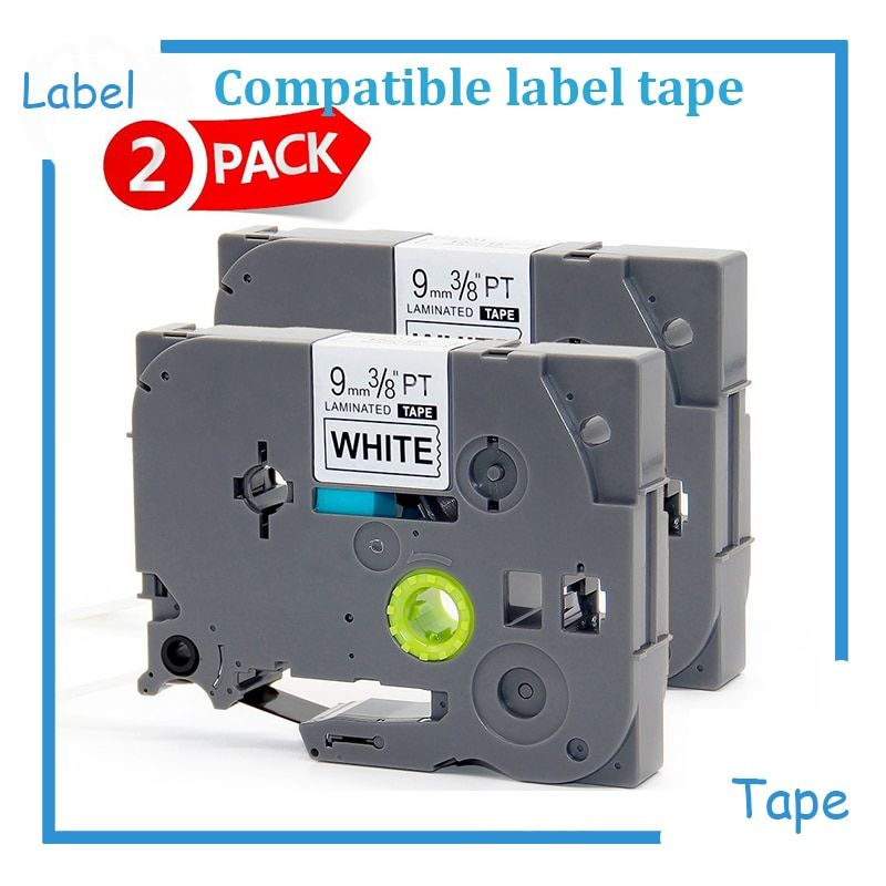 2PK Tze 231 Tze23112mm*8m Black on White Laminated Compatible Brother P touch 12mm tze-231 Label Tape Cartridge tz231 tze-231
